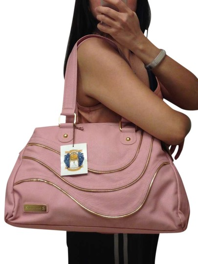Miss Tina Handbag Pebble Leather Leather Satchel in Pink