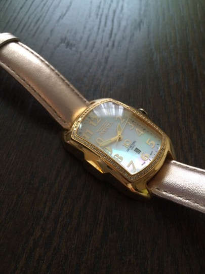 Invicta Invicta Ladies Baby Lupah Diamond-Gold Tone-Mother of Pearl Watch with Interchangeable Leather Straps