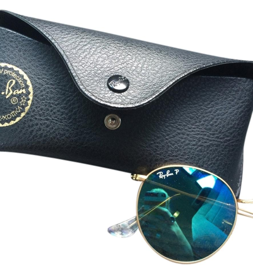 0456a35dd7 Ray-Ban Blue and Gold New Round Metal Polarized Mirror Matte Rb 3447 112 4l  50mm Sunglasses