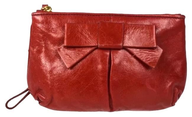 Item - Clutch Red Leather Wristlet