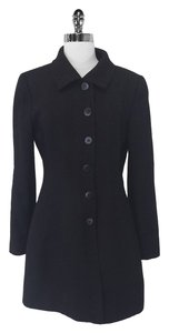 Armani Collezioni Wool Long Black Jacket