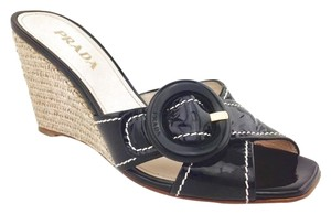 Prada Gold Hardware Black Wedges