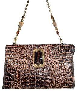 Baby Bella Maya Aligator Embossed Leather Resin Jewel Gem Shoulder Bag