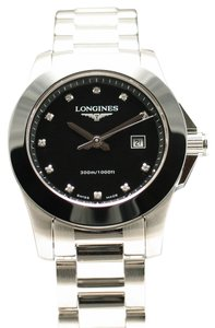 Longines New Longines Conquest Stainless Steel with Black Ceramic Bezel & Black Diamond Dial L3.257.4.57.6 L32574576