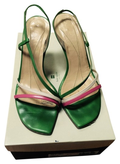 Kate Spade Kelly Green with Pink and White Sandals