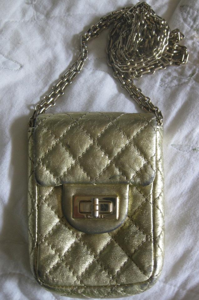0f1d4ddd2682 Chanel 2.55 Reissue Woc Wallet On A Chain Mini Reissue Flap Cc Metallic  Classic Gold Lambskin Leather Cross Body Bag - Tradesy