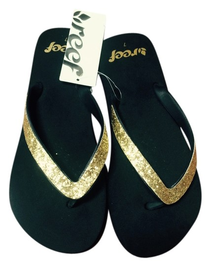 Reef Black with Gold straps Flats