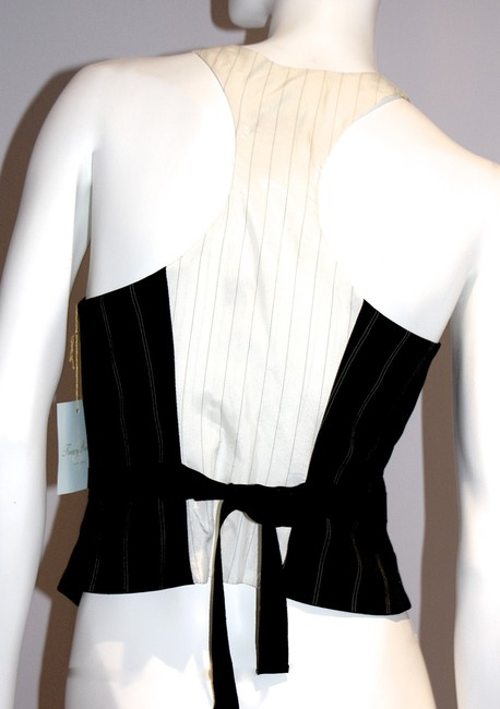 Tracy Reese Tie Halter Sexy Designer Top Black/Off White