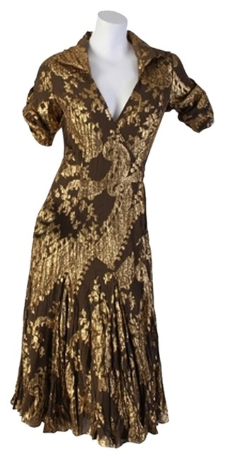 Item - Brown/Gold Dvf Wrap Long Casual Maxi Dress Size 4 (S)