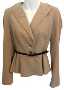 White House | Black Market Waist Belt Collar Accent Tan/Light Brown Blazer