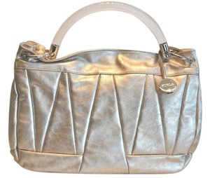 Furla Clear Resin Handle Metallic Quilted Leather Satchel in Silver
