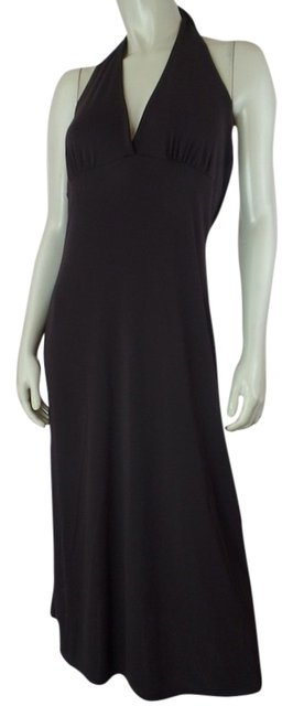 Item - Brown Large Gathers At Seamed Bust Unlined Stretch Knit Pullover Halter Long Casual Maxi Dress Size 12 (L)
