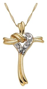 Apples of Gold Diamond Heart Cross-Knot Necklace in 14K Gold