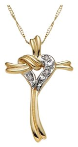 Apples of Gold Diamond Heart Cross-Knot Pendant in 14K Gold