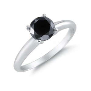 Apples of Gold Black 1 Carat Diamond Solitaire Engagement Ring