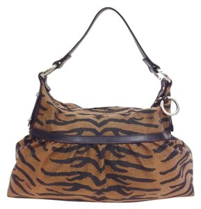 Fendi Silver Hardware Logo Animal Print Hobo Bag