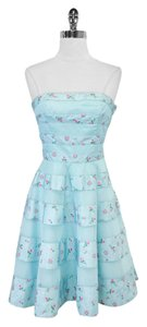 Betsey Johnson short dress Blue Floral Strapless Mesh on Tradesy
