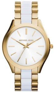 Michael Kors Michael Kors Women's Slim Runway White Acetate and Gold-Tone Stainless Steel Bracelet Watch 42mm MK4295