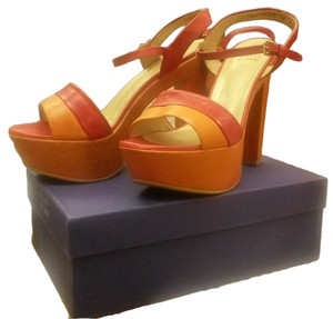Stuart Weitzman Leather Platform Chunky Orange Platforms