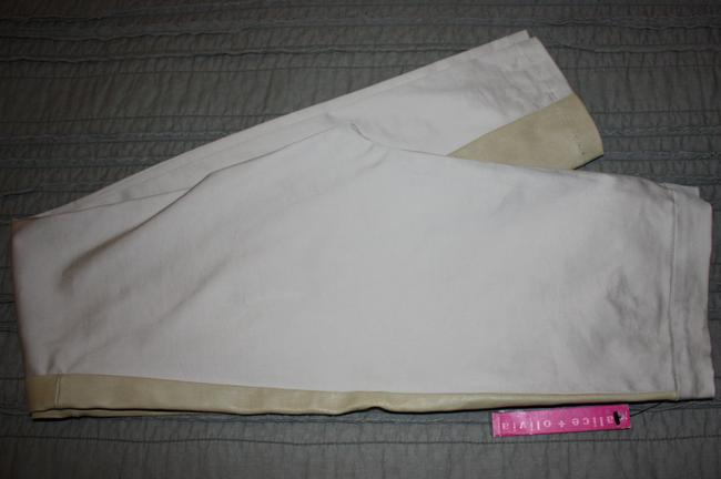 Alice + Olivia + Leather Panel Pants Size 8 Stone Leggings