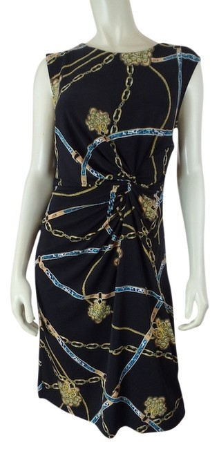 Apt. 9 short dress Black with Gold Blue & White Chain Design Stretchy Pullover Thin Knit Knotted Ruche Polyester Spandex Slinky Sleeveless Small Size S on Tradesy