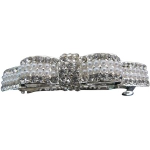 Silver Pearls and Rhinestone Bow Barrette Hair Accessory