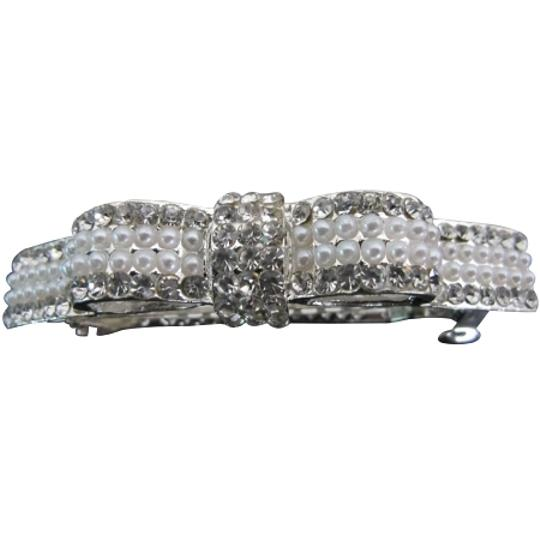 Pearls And Rhinestone Bow Barrette Gorgeous Hair Accessory
