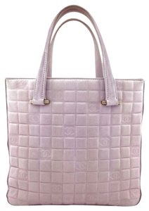 Chanel Gold Hardware Logo Tote in Pink