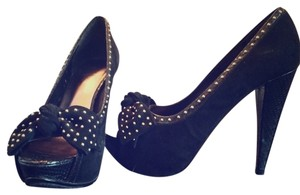 Bakers Adilene Suede Studded Peep Toe Bow Pumps