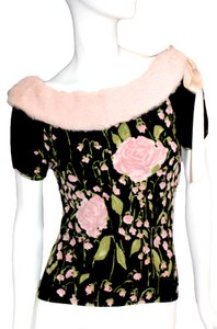 Blugirl Amazing Detailed Sweater Fur Collar Satin Tie Romantic Spring Roses Ice Skating Holiday Top Pink/Black/Green