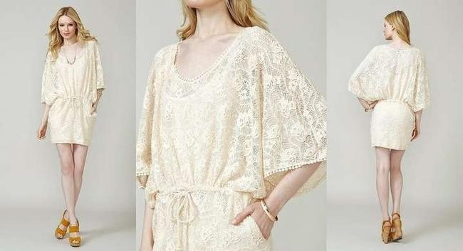 Anthropologie short dress White Lace Crochet Tunic Kaftan Cover Up on Tradesy