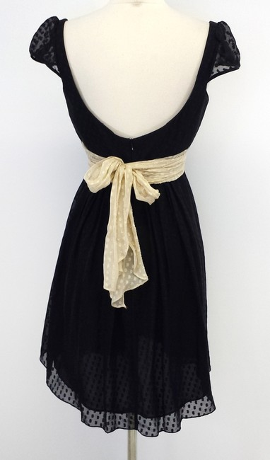 MILLY short dress Black & Beige Silk Tie Waist on Tradesy