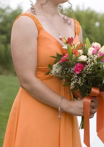 David's Bridal Tangerine Polester Shell and Lineing F12899 Traditional Bridesmaid/Mob Dress Size 4 (S)