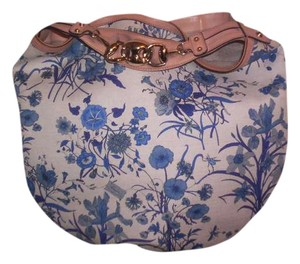 gucci Satchel in blue flowers on white canwas