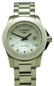 Longines Longines Conquest SS White Ceramic Bezel MOP Diamond Dial Quartz