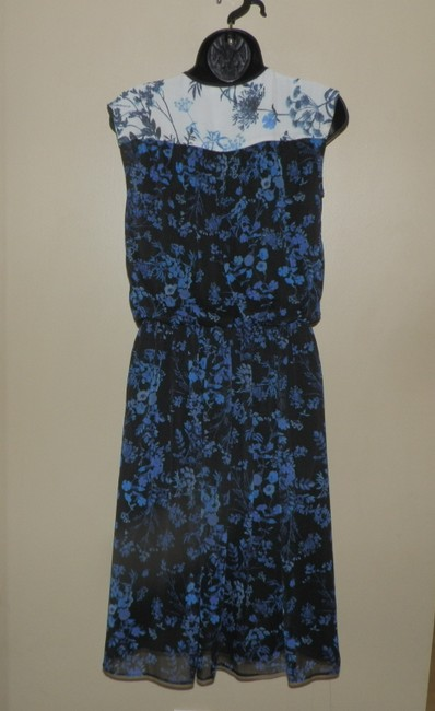 Adrianna Papell short dress Blue, black and white Lightweight Sleeveless Elastic on Tradesy