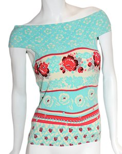 Blumarine Sweater Made In Italy Spring Chic Summer Top Aqua, Fushia, Cream