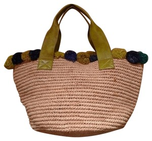 Florabella Raffia Tote in Straw/Blue/Green