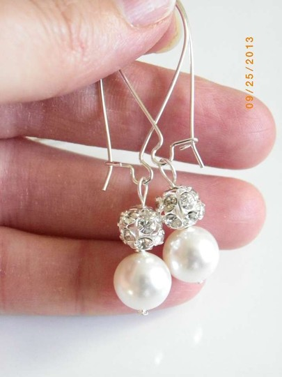 Handmade Swarovski Crystal ball and Pearl Earrings,