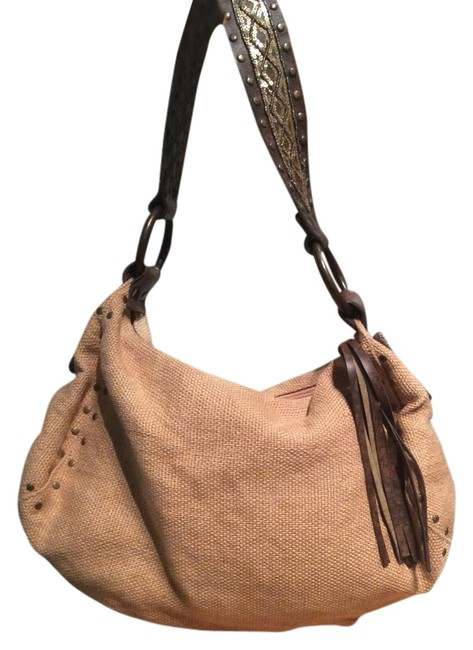Item - Hobo And Pvc with Groomets Beige Linen Shoulder Bag