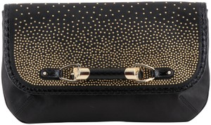 Jimmy Choo Studded Large Flap Late Night Club Black Clutch