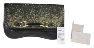 Jimmy Choo Studded Large Flap Black/Gold Clutch