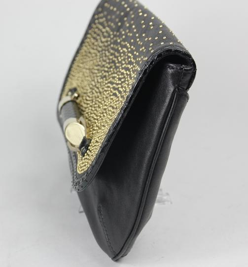 Jimmy Choo Studded Large Flap Late Night Club Black/Gold Clutch