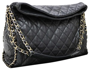 6b3906de2d9c59 Chanel Tote Hobo Jumbo Quilted Ultimate Soft Chain Around Black Calfskin  Leather Shoulder Bag