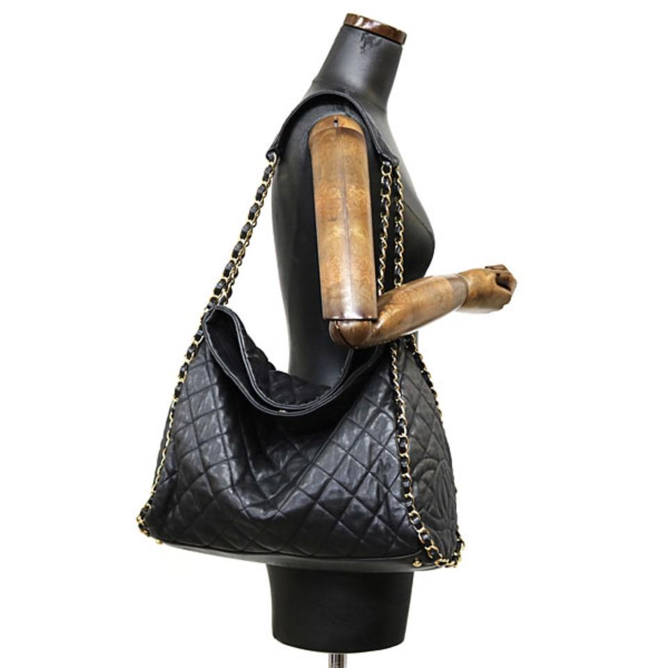 b7842ebf39d287 Chanel Tote Hobo Jumbo Quilted Ultimate Soft Chain Around Black Calfskin  Leather Shoulder Bag - Tradesy