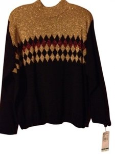 Alfred Dunner Top Metallic Gold &Metallic Red and Black