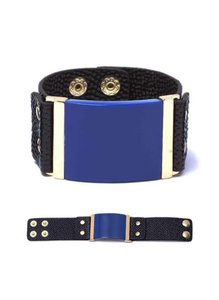 Raf Rossi Gold Plated Black and Blue Cuff Bracelet