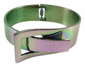 Raf Rossi Gold Plated Simple Metal Bracelet- Iridescent