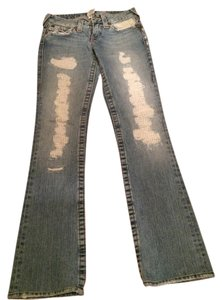 True Religion Cute Vintage Distressed Light Wash Denim Straight Leg Jeans-Light Wash
