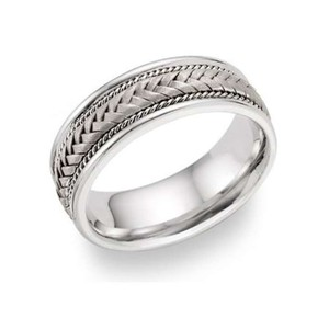 Apples Of Gold 14k White Gold 7.6mm Braided Wedding Band Ring